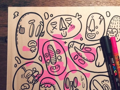 Monsters on wood monsters wood posca molotow weird neon faces pink doodle