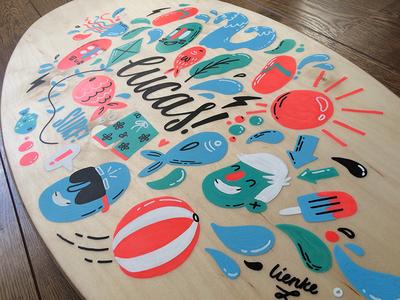 Skimboard illustration posca liquitex beach summer water monsters lucas illustration surf surfboard skimboard