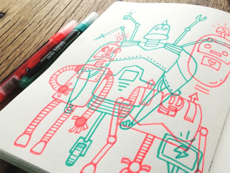 Robots neon liquitex illustration robots robot