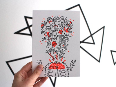 Give Away! letterpress holstee illustration monsters win give-away