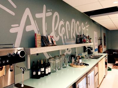 Atlassian Mural 2 drinks bar wall painting molotow posca atlassian handlettering type letters mural lettering