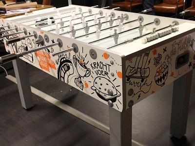 Foosball table drawing skate illustraties molotow custom customize foosball