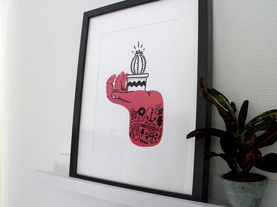 Tough Hands screenprint illustration print drawing plant cactus tattoos tattoo hands hand screenprint