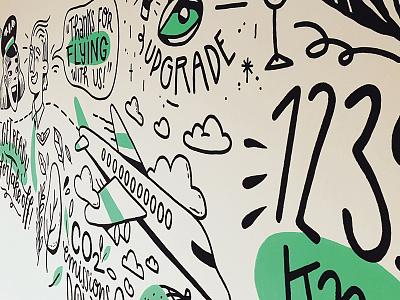Mural at Yieldr Amsterdam wall wallart molotow travelling airport travel plane illustration drawing mural yieldr