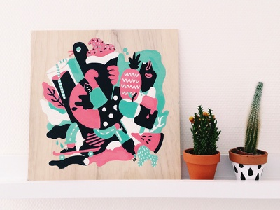 Spring - Painting on wood wood icecream spring illustration drawing painting