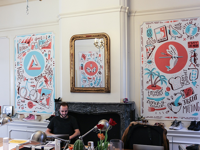 Anomaly mural wall painting lunch amsterdam bike bird wallpainting illustration wall drawing mural