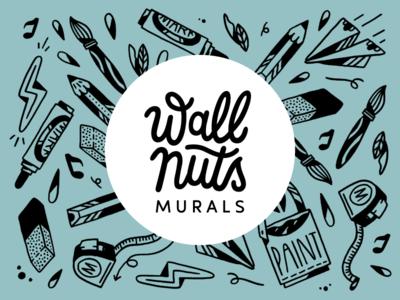 Wallnuts murals logo handlettering lettering amsterdam wall painting logo design drawing logo illustration mural wallnuts
