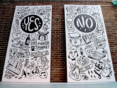 Yes - No Mural wall painting trump no yes posca molotow drawing illustration mural