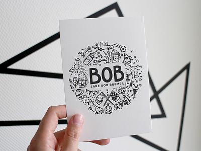 Baby Bob's birth announcement birth announcement babyboy boy rocket dinosaur dino illustration card newborn baby birth
