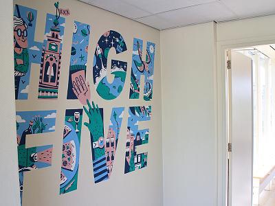 Mural Atlassian High Five high five wall painting type lettering amsterdam bike bird wallpainting illustration wall drawing mural