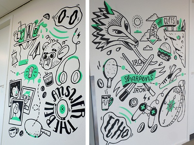 Mural at Yieldr Amsterdam pt 2 wall painting type lettering amsterdam wallpainting illustration wall drawing mural