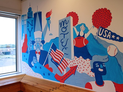 USA-themed mural stars and stripes murica usa wall painting type lettering amsterdam wallpainting illustration wall drawing mural