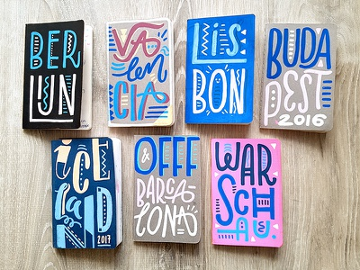 Mini travel diaries iceland lisbon berlin sketch type handlettering lettering illustration drawing diary travel