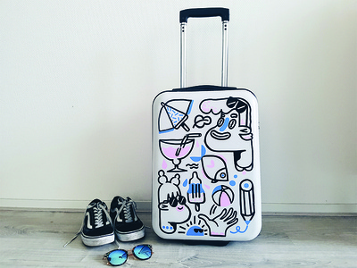 Suitcase painting customized cocktail sunglasses holiday character travel suitcase drawing illustration