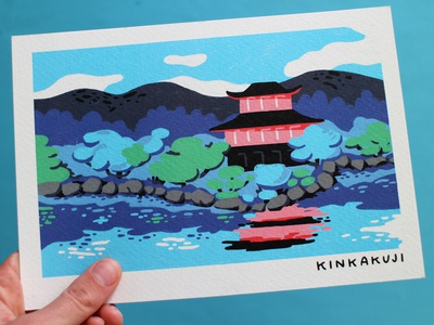 Prints Kyoto print procreate drawing japan art japan travel illustration kinkakuji illustration kyoto