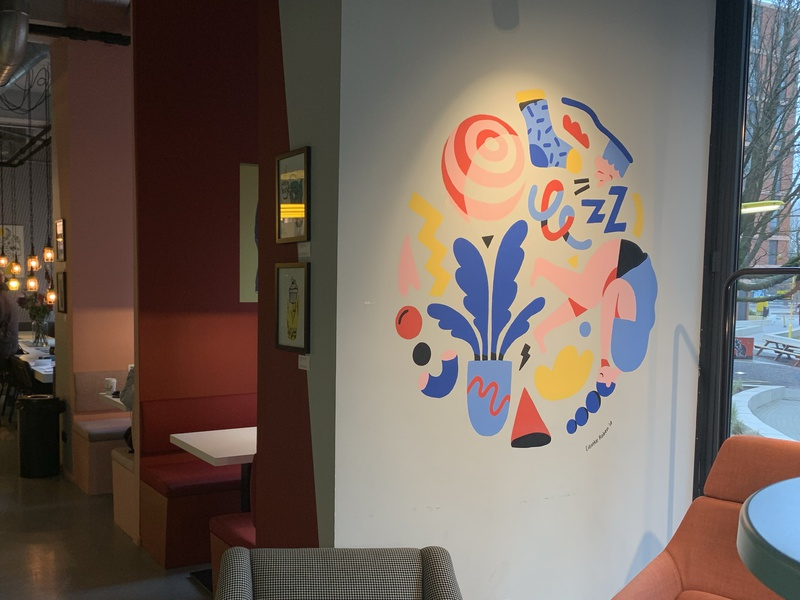 Mural at The Student Hotel Amsterdam the student hotel hotel interior abstract sleeping plant wall painting wall art illustration mural