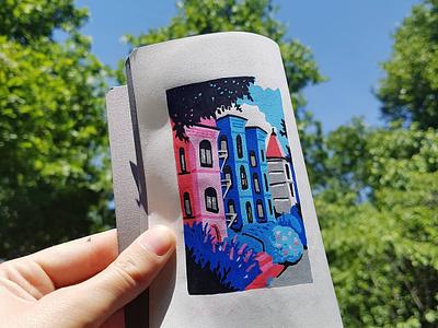 Dupont Circle, Washington DC house neighbourhood washington washington dc drawing illustration travel diary posca