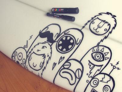 Surfboard doodle surfboard doodle posca markers character monsters