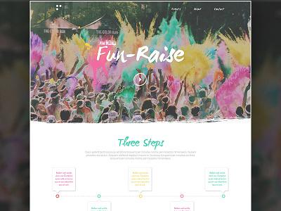 """Fun-Raise"" Site Design  typography type colour design website site web riase fun"