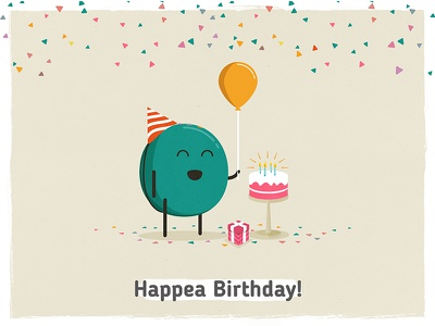 Happea Birthday! design draw confetti present cake balloon birthday pea doodle illustration