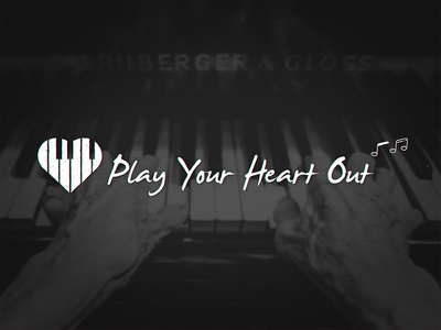 Play Your Heart Out piano notes typography type grain brand logo heart music