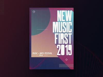 Music Festival '19 - Direction Two poster branding festival poster ireland typography design geometic festival music
