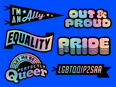 ActiveCampaign PRIDE 2021 — Holographic sticker concept events branding retro typographic typography team rainbow holographic stickers swag politics diversity gay pride month pride