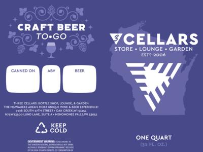 Three Cellars Crowler Label