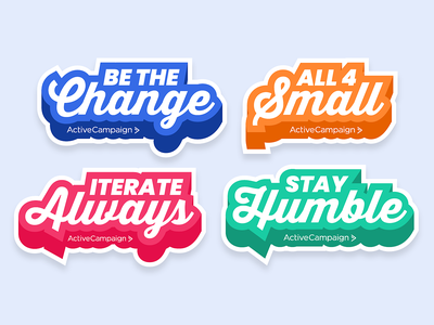 Core Values — Sticker Concept merch events brand diecut script sports mantra motto decal logo branding dimensional type swag onboarding values stickers