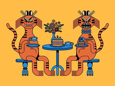 Tiger's TeaTime vector illustration food design 2d animal tiger