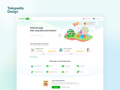 Tokopedia Care: Help Center ux support faqs landing page tokopedia web design ui help center