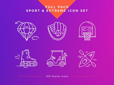 Sport & Extreme Icons Set sport icon extreme icon icon set vector ui ux gym icon