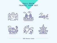 Travel & Landmarks Icons Set