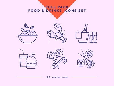 Food & Drinks Icons Set drink icon food icon icons icon set restaurant ui ux vector