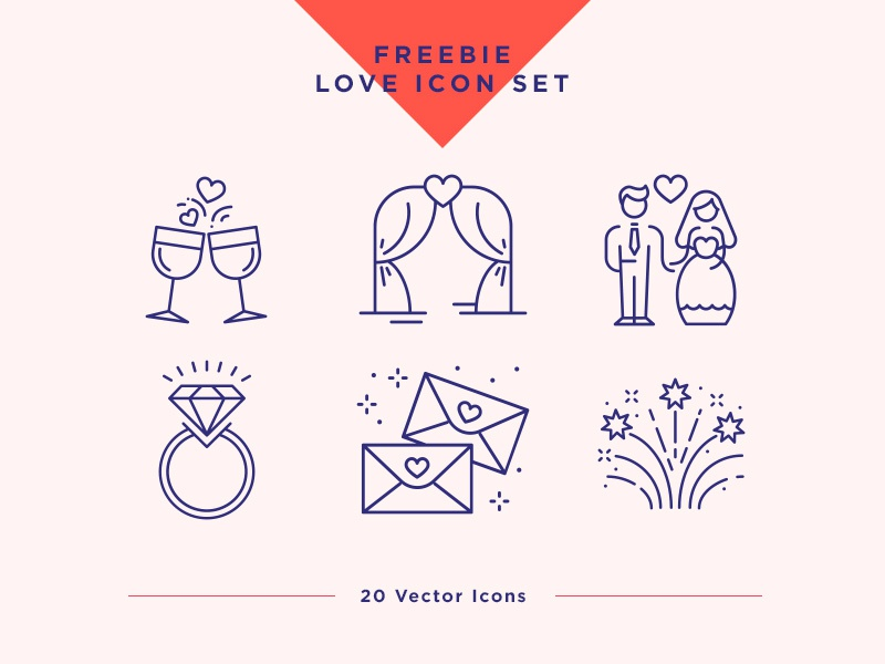 Wedding & Love Icons Set. Free Light Pack