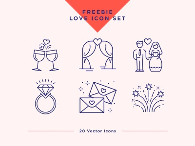 Wedding & Love Icons Set. Free Light Pack freebie free wedding icons ux ui free love icon free valentine icons free icon set