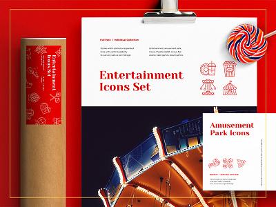 Amusement Park – 100 Line Icons stationary logo icon vector icon set entertainment amusement park casino circus ui ux