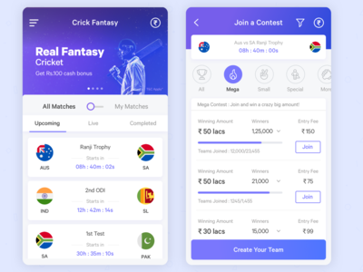 Fantasy Cricket App Redesign sports cricket fantasy layout application mobile interface app ui design