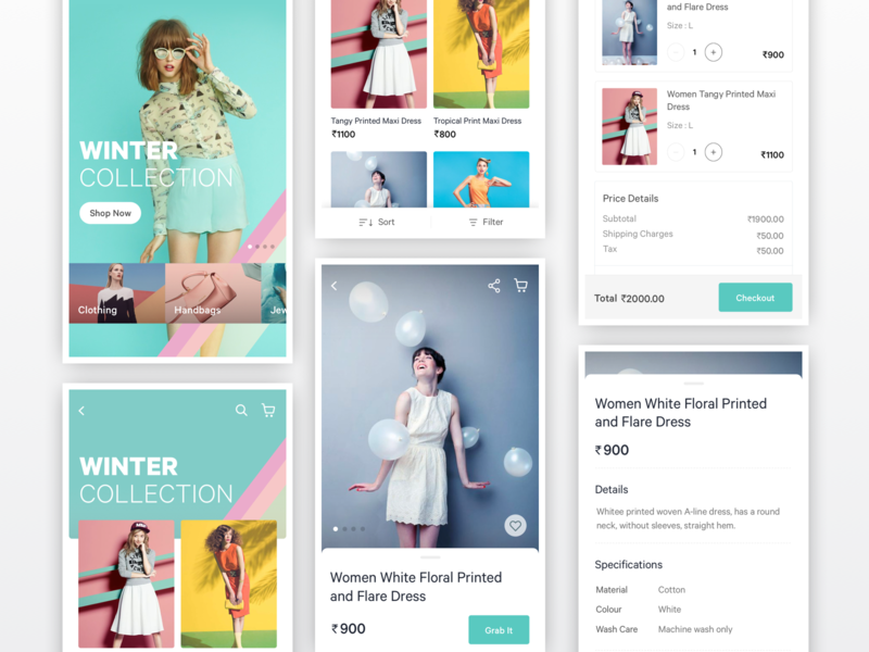 Fashion eCommerce App ecommerce clothing fashion layout interaction interface application mobile ui app design