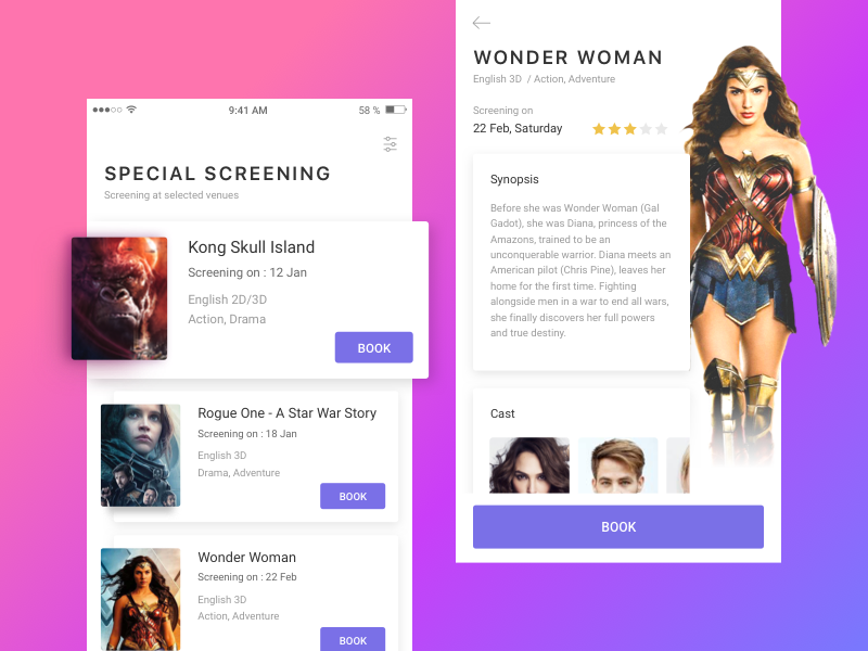 Movie Booking App interface user tickets mobile cinema cards booking detail listing app movie ui