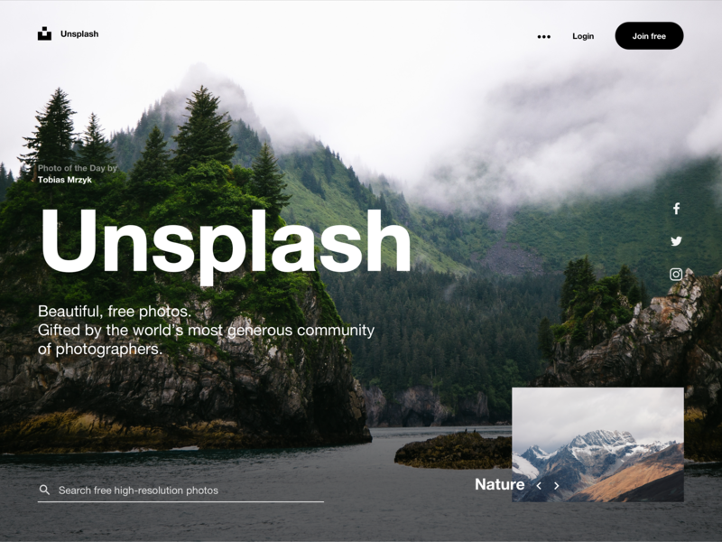 Unsplash Concept page web deisgn concept forrest social icon sydorov minimalism mountain tipography helvetica nature promo page ui unsplash
