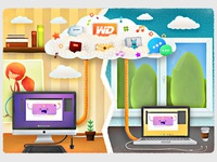 Illustration of cloud storage WD