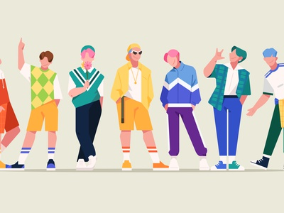 KPOP IDOL 2d color flat illustration character celebrity boy man
