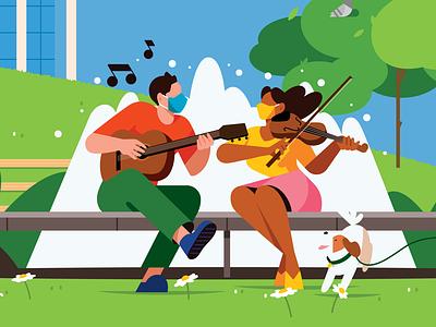 Restart Stages newyork concert performance music illustration color character flat
