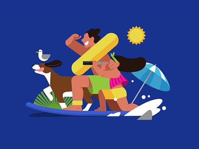 Summer sea flat character dog family suffer sea summer