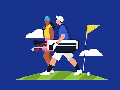 Golf rounding character golf