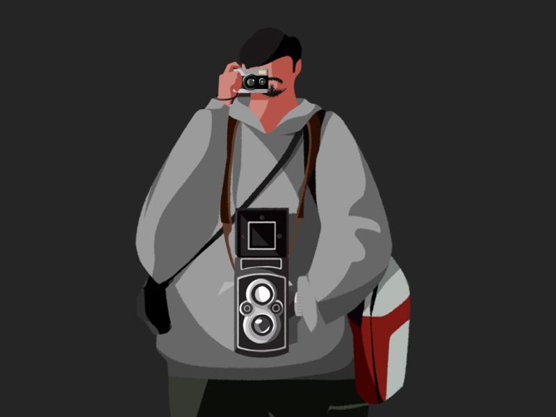 Cameraman illustration character man film camera cameraman photographer