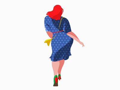 retro woman fashion retro plump body illust color