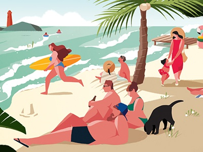 A Sunday Afternoon on the beach people parody summer beach illust