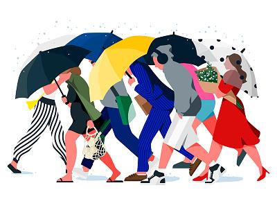 Rainy day rainyday rain umbrella color people illustration